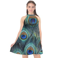Feathers Art Peacock Sheets Patterns Halter Neckline Chiffon Dress  by BangZart