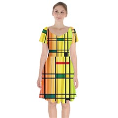 Line Rainbow Grid Abstract Short Sleeve Bardot Dress