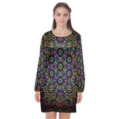 The Flower Of Life Long Sleeve Chiffon Shift Dress  by BangZart