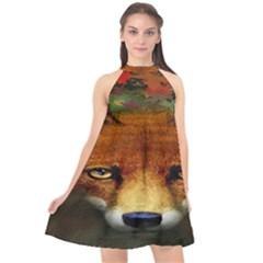 Fox Halter Neckline Chiffon Dress  by BangZart