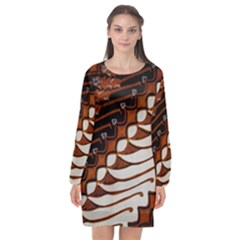 Traditional Batik Sarong Long Sleeve Chiffon Shift Dress