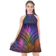 Colored Rays Symmetry Feather Art Halter Neckline Chiffon Dress