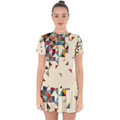 Retro Pattern Of Geometric Shapes Drop Hem Mini Chiffon Dress by BangZart