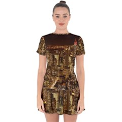 New York City At Night Future City Night Drop Hem Mini Chiffon Dress by BangZart