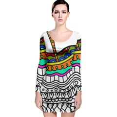 Abstract Apple Art Colorful Long Sleeve Bodycon Dress