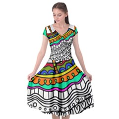 Abstract Apple Art Colorful Cap Sleeve Wrap Front Dress by Nexatart