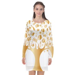 Abstract Book Floral Food Icons Long Sleeve Chiffon Shift Dress