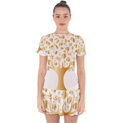Abstract Book Floral Food Icons Drop Hem Mini Chiffon Dress by Nexatart