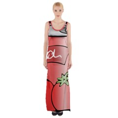 Beverage Can Drink Juice Tomato Maxi Thigh Split Dress