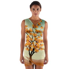 Branches Field Flora Forest Fruits Wrap Front Bodycon Dress by Nexatart