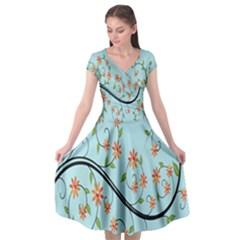 Branch Floral Flourish Flower Cap Sleeve Wrap Front Dress by Nexatart