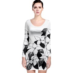 Ecological Floral Flowers Leaf Long Sleeve Bodycon Dress