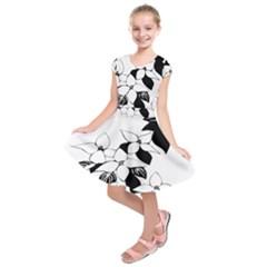Ecological Floral Flowers Leaf Kids  Short Sleeve Dress by Nexatart