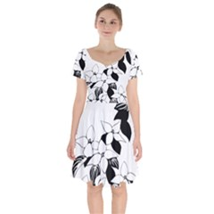 Ecological Floral Flowers Leaf Short Sleeve Bardot Dress by Nexatart