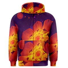 Royal Blue, Red, And Yellow Fractal Gerbera Daisy Men s Zipper Hoodie by jayaprime