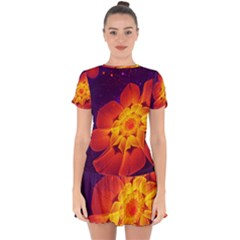 Royal Blue, Red, And Yellow Fractal Gerbera Daisy Drop Hem Mini Chiffon Dress by jayaprime