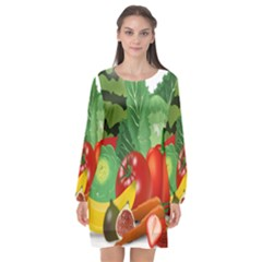 Fruits Vegetables Artichoke Banana Long Sleeve Chiffon Shift Dress