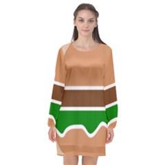 Hamburger Fast Food A Sandwich Long Sleeve Chiffon Shift Dress  by Nexatart