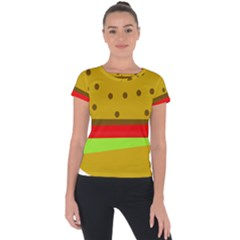 Hamburger Food Fast Food Burger Short Sleeve Sports Top  by Nexatart