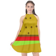 Hamburger Food Fast Food Burger Halter Neckline Chiffon Dress