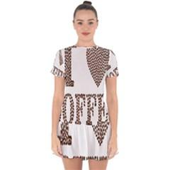 Love Heart Romance Passion Drop Hem Mini Chiffon Dress by Nexatart