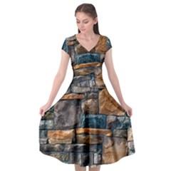 Brick Wall Pattern Cap Sleeve Wrap Front Dress