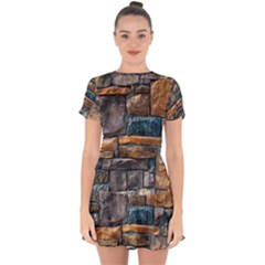 Brick Wall Pattern Drop Hem Mini Chiffon Dress by BangZart