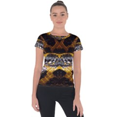 Textures Snake Skin Patterns Short Sleeve Sports Top  by BangZart