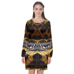 Textures Snake Skin Patterns Long Sleeve Chiffon Shift Dress  by BangZart
