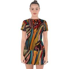 Vivid Colours Drop Hem Mini Chiffon Dress by BangZart