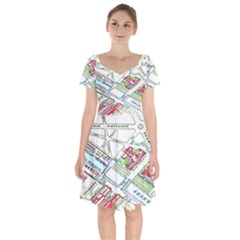 Paris Map Short Sleeve Bardot Dress by BangZart