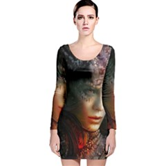 Digital Fantasy Girl Art Long Sleeve Velvet Bodycon Dress by BangZart