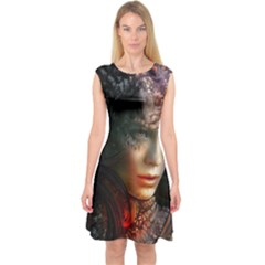 Digital Fantasy Girl Art Capsleeve Midi Dress