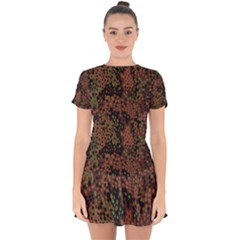 Digital Camouflage Drop Hem Mini Chiffon Dress