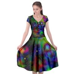 Full Colors Cap Sleeve Wrap Front Dress by BangZart