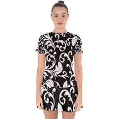 Vector Classicaltr Aditional Black And White Floral Patterns Drop Hem Mini Chiffon Dress
