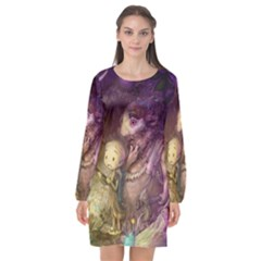 Cartoons Video Games Multicolor Long Sleeve Chiffon Shift Dress  by BangZart