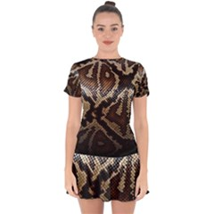 Snake Skin Olay Drop Hem Mini Chiffon Dress by BangZart