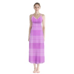 Seamless Tartan Pattern Button Up Chiffon Maxi Dress by BangZart