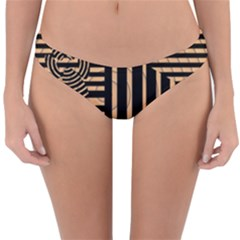 Wooden Pause Play Paws Abstract Oparton Line Roulette Spin Reversible Hipster Bikini Bottoms by BangZart