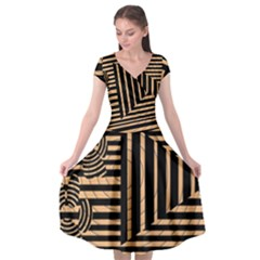 Wooden Pause Play Paws Abstract Oparton Line Roulette Spin Cap Sleeve Wrap Front Dress by BangZart