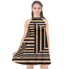 Wooden Pause Play Paws Abstract Oparton Line Roulette Spin Halter Neckline Chiffon Dress  by BangZart