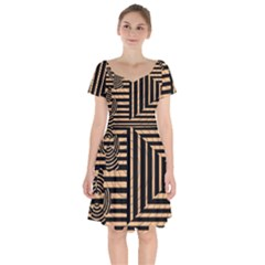 Wooden Pause Play Paws Abstract Oparton Line Roulette Spin Short Sleeve Bardot Dress by BangZart