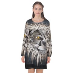 Lion Robot Long Sleeve Chiffon Shift Dress