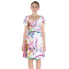 Butterfly Vector Art Short Sleeve Bardot Dress by BangZart