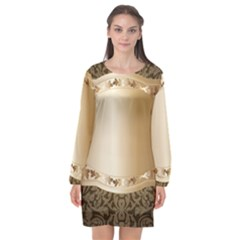 Floral 3 Long Sleeve Chiffon Shift Dress  by BangZart