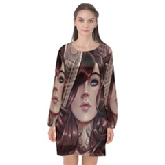 Beautiful Women Fantasy Art Long Sleeve Chiffon Shift Dress
