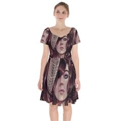 Beautiful Women Fantasy Art Short Sleeve Bardot Dress