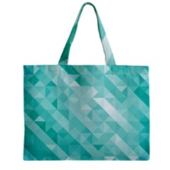 Bright Blue Turquoise Polygonal Background Zipper Mini Tote Bag