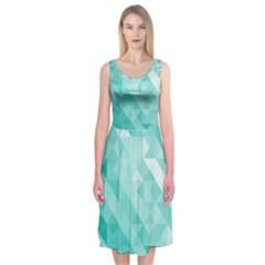Bright Blue Turquoise Polygonal Background Midi Sleeveless Dress